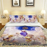3D Jesus Cross Angel Wings KEP268 Bed Pillowcases Quilt Duvet Cover Kay