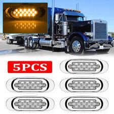 """5x 6.5"""" LED Side Marker Turn Signal Light For Peterbilt Mack Chrome 16 LED Amber"""