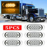"5x 6.5"" LED Side Marker Turn Signal Light For Peterbilt Mack Chrome 16 LED Amber"