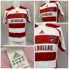 FC Dallas Jersey L Red White Stripe Adidas 100% Polyester Mint YGI RE1528