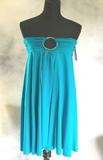 Betsey Johnson Swimsuit Cover-up Solid Teal Blue NEW Dress sz XS S $124 MSRP