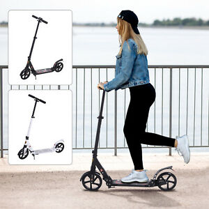 Folding Kick Scooter 2 Big Wheels Teens Adult Adjustable Height