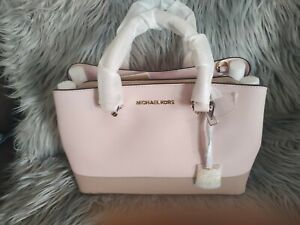 Michael Kors Savanna Large Leather Satchel in Blossom/Fawn