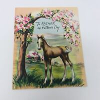 Vintage 1940s Fathers Day Card To My Father  Wish Well Greetings USA Horse