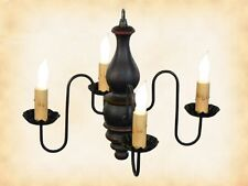 "BLACK w/ RED COLONIAL WOOD CHANDELIER - ""ABIGAIL"" 4 Candle Light Handmade in USA"