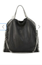 Stella Mccartney Black Falabella Fold-Over Faux Suede Tote Bag
