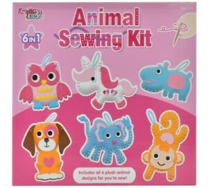 6 in 1 Animal Sewing Kit Make Your Own Felt Plush Animals Kids Xmas Art Crafts