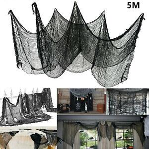 5M Black Halloween House Creepy Gauze Cloth Door Decor Gothic Prop Party Decor