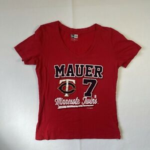 New Era Womens Small Short Sleeve V-Neck T-Shirt Minnesota Twins Mauer #7 MLB