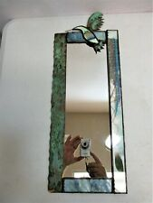 Mirror Wall Art Mixed Media Metal Woven Bird Feather Artist Cindy Hirt 20 1/2""