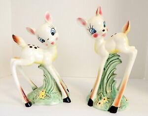 2 VTG Deer Kitsch White Long Leg Bambi Figurines Fawn Japan Ceramic Porcelain