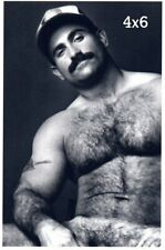 Handsome Shirtless Hairy Chest Mustache Male Muscles Gay Interest B&W 4x6 Photo