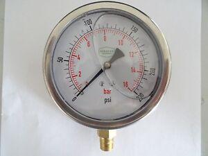 """0-230 psi 100 mm Glycerine Filled Pressure Gauge 1/4""""Bottom Entry"""