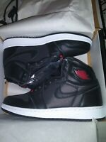 Nike Air Jordan 1 High OG GS SZ 5Y Black Satin Gym Red Bred 575441-060 NEW