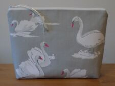 Handmade Toiletries Cosmetics Wash Bag Large Make Up Case Swan Cotton Canvas