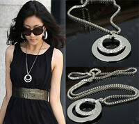Silver Plated Women Fashion Crystal Rhinestone Long Chain Pendant Necklace Gift