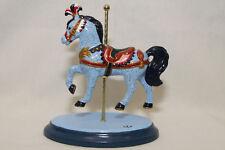 EUC Ceramic Carousel Horse Figurine Blue Pink Orange