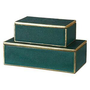 Malachite Green Gold Lidded Box Set Pair | Trinket Gift Emerald Modern