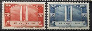 FRANCE - MONUMENT DE VIMY 1936 # 316 - 317 MLH