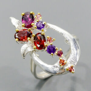 Handmade SET Garnet Ring Silver 925 Sterling  Size 6.75 /R173150