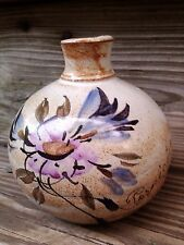 Pornichet vintage small hand painted clay pottery vase signed.