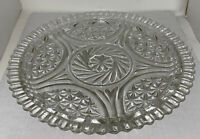 """Vintage Cut Glass Fancy Round Serving Platter 12"""" inches wide Lots Of Detail"""