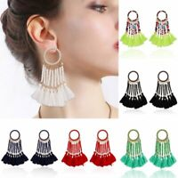 Fashion Geometric Boho Beads Tassel Earrings Stud Dangle Drop Women Jewelry Gift