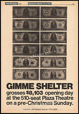 GIMME SHELTER__Original 1970 Trade AD / poster__The ROLLING STONES_Plaza Theatre