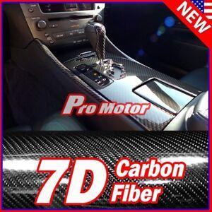 """24"""" x 60"""" Black Carbon Fiber 7D Premium Gloss Vinyl Wrap Bubble Free Release PRO"""