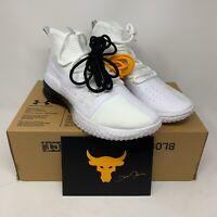New Sz 10.5 Under Armour x Project Rock White Training Shoes 3020788-102 Men's