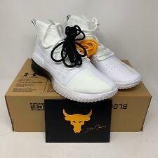 New Sz 9 Under Armour x Project Rock White Training Shoes 3020788-102 Men's