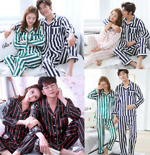 Women Men Silk Satin Pajamas Sets Long Sleeve Pyjamas Sleepwear Nightwear Lovers