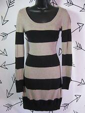 Women's H&M BASIC SWEATER DRESS Striped Size S Small Long Sleeve Beige & Black