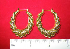 "MADE IN USA - Gold Plated Shrimp Twist ~1-1/4"" Hoop Earrings (#1223)"