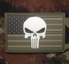 PUNISHER US FLAG RUBBER PVC GLOW SEALS MORALE FOREST VELCRO® BRAND FASTEN PATCH