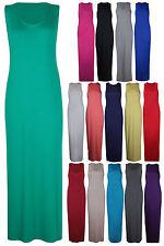 Womens Muscle Racer Back Sleeveless Ladies Vest Long Maxi Plain Dress Plus Size