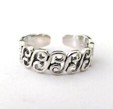 Sterling Silver Scrolls thin band size medium-large adjustable toe ring