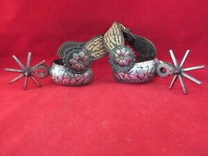 PAIR OF SILVER DOUBLE MOUNTED MEXICAN CHARRO SPURS, PITIATO STRAPS
