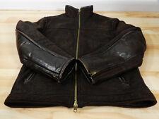 Territory Mens Sheepskin Shearling Leather Biker Bomber Jacket size M