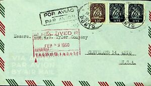 PORTUGAL 1950 3v SHIP ON AIRMAIL COVER FROM LISBOA TO CLEVELAND OHIO USA