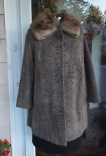 Vtg Brown Broadtail Persian Lamb Jacket Coat W/ Stone Marten Collar ML Lovely