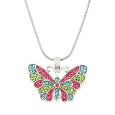 "Butterfly Charm Pendant Necklace - Sparkling Crystal - 17"" Chain - 2 Colors"