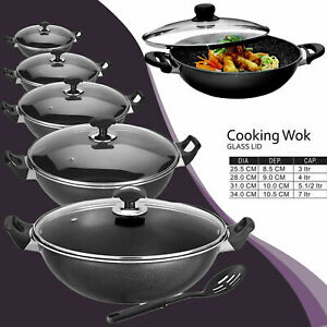 Non Stick Cooking Wok Deep Aluminium Frying Pan Handle Glass Lid with Spoon