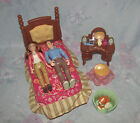 Fisher Price Loving Family Dollhouse Parents' Bedroom - Mom, Dad, Bed, Dresser +