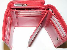 RFID London Leathergoods Ladies Zip Round leather Purse & Swing Section red 1063