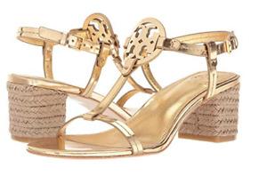 Tory Burch NEW Miller Gold Espadrille 65 MM Jute T-Strap Sandal $268 9M Logo