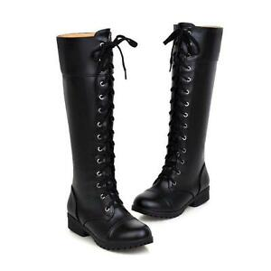 Military Combat Women's Knee High Lace Up  Riding Knight Boots #2