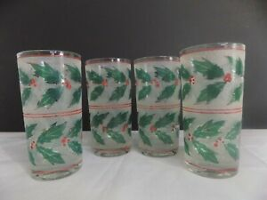 Vintage Culver Holly Berries Frosted Glass Tumblers Set of 4
