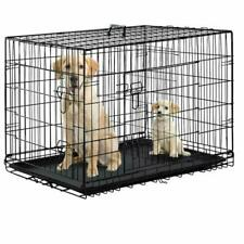 Dog Crate Dog Cage Pet Crate 48 Inch Folding Metal Pet Cage Double Door W/Divide