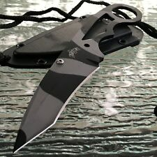 "7"" Stainless Steel Urban Camo Tanto Blade Neck Knife w/ Hard Sheath Tactical New"
